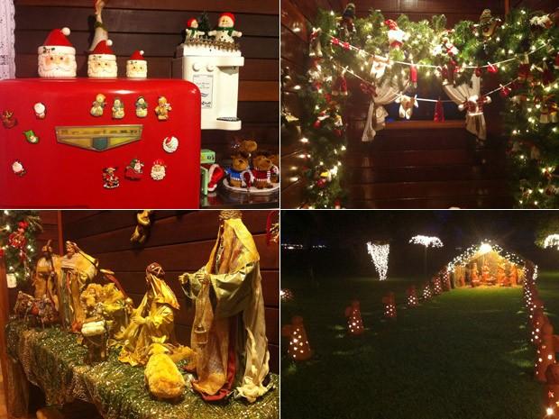 Na cozinha, a geladeira vermelha lembra o Natal. O banheiro também ganhou decoração especial. A decoração tem dois presépios, um deles no jardim (Foto: Káthia Mello/G1)
