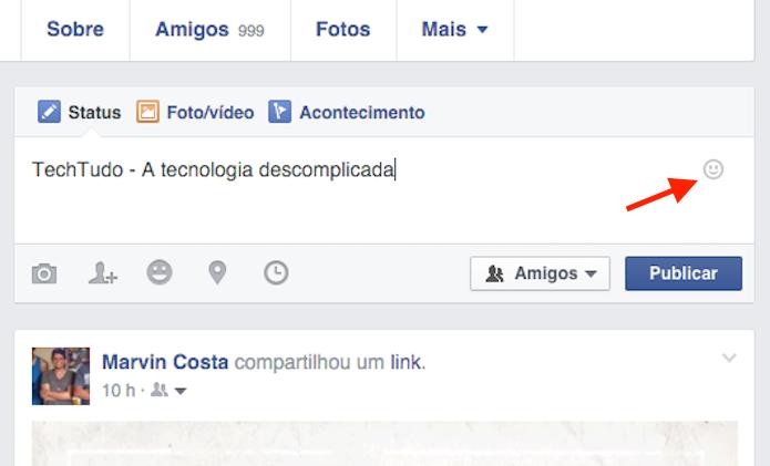 Acessando os emoticons secretos a partir da ferramenta de atualização de status do Facebook (Foto: Reprodução/Marvin Costa)