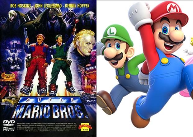 Os irmãos Mario de 'Super Mario Bros.' no filme (à esq,) e no último game (à dir.) (Foto: Divulgação/Nintendo/Hollywood Pictures)