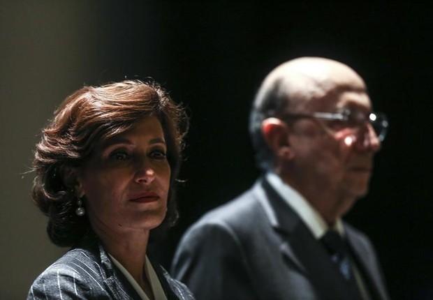 María Silvia Bastos Marques ao lado de Henrique Meirelles (Foto: Antonio Lacerda/EFE)