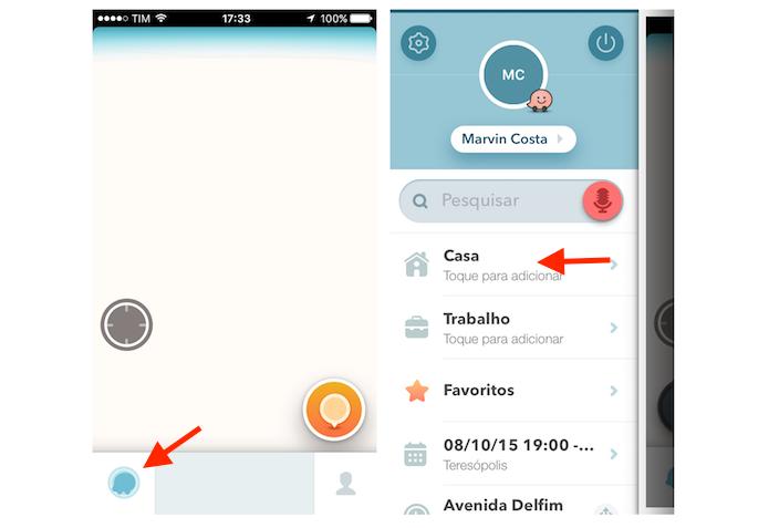 Acessando as configurações para endereço de casa do Waze no iPhone (Foto: Reprodução/Marvin Costa)