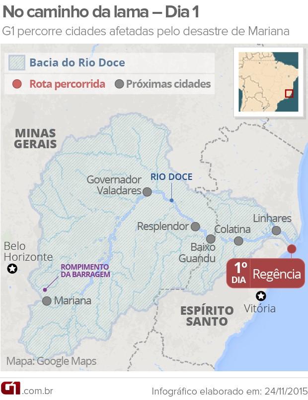 Dia 1 - G1 percorre cidades afetadas pelo desastre ambiental em Mariana (MAPA) (Foto: Arte/G1)