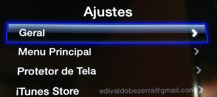 Entrando na opção Geral da Apple TV (Foto: Reprodução/Edivaldo Brito)
