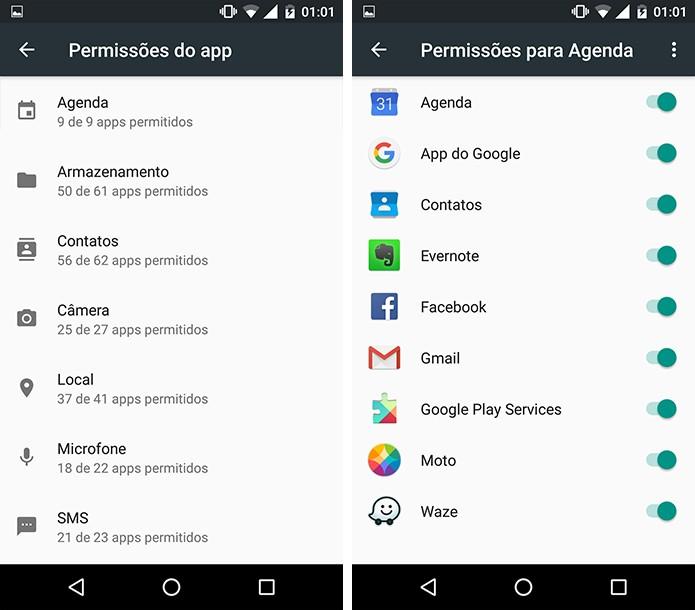 Lista exibe todos os aplicativos que possuem acesso a determinado recurso do celular. (Foto: Reprodução/Alessandro Junior)