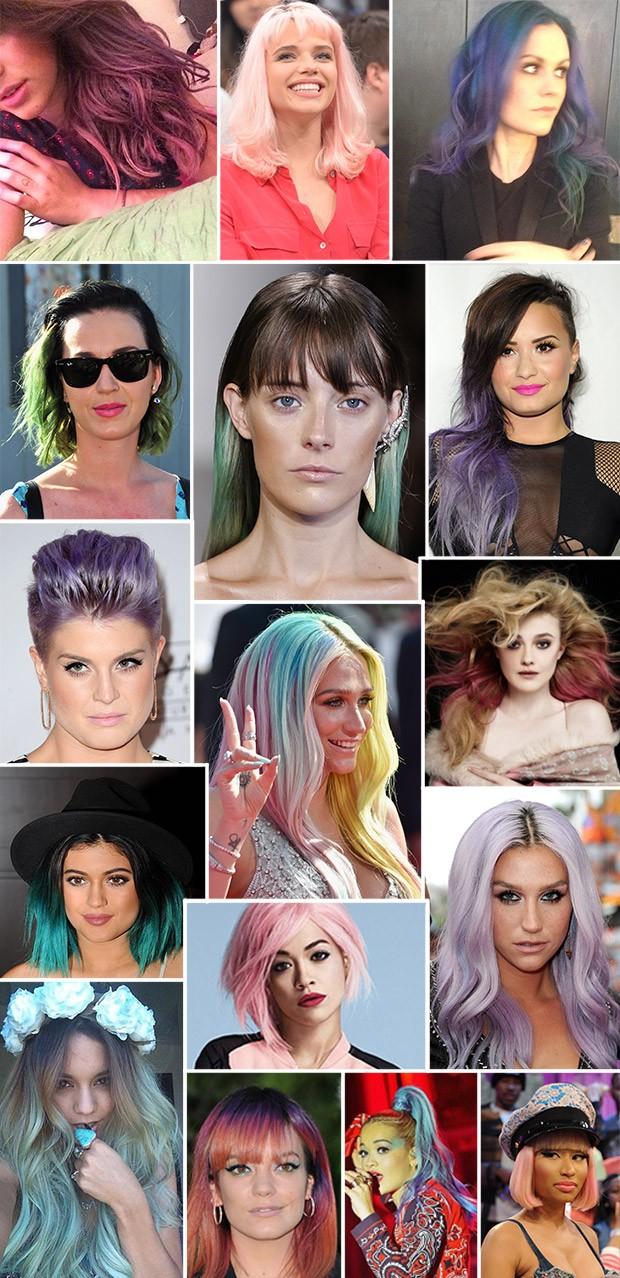 Montagem cabelos coloridos (Foto: Getty images)