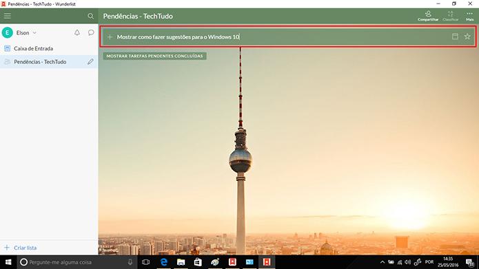 Wunderlist pode ter tarefas adicionadas a partir de campo no topo da tela (Foto: Reprodução/Elson de Souza)