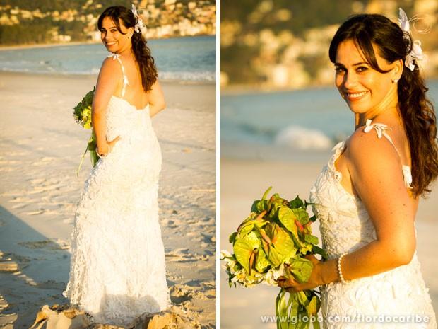 Vestido de Natália é feito em renda de bilro (Foto: Globo/João Miguel Júnior)