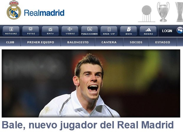 Bale Site Real Madrid (Foto: Reprodução)