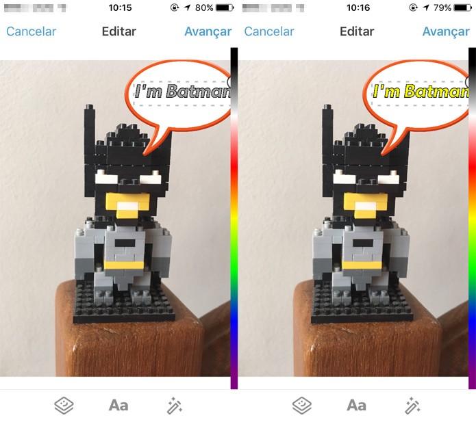 Posicione o texto e escolha uma cor (Foto: Reprodução)