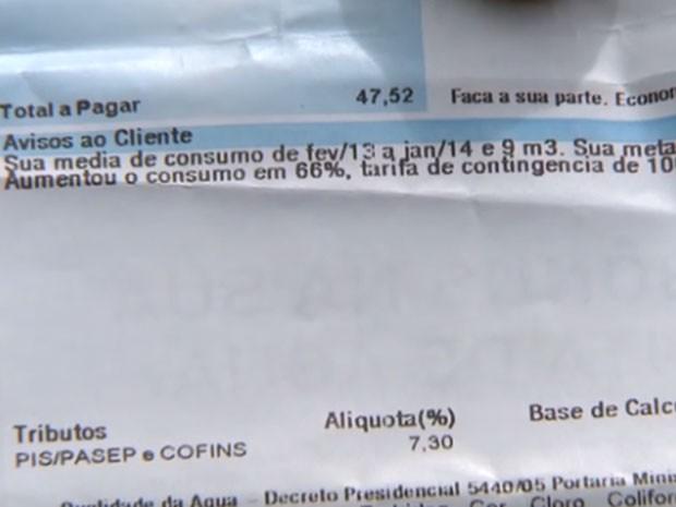 Aumento de 66% do consumo mostrado em conta de água (Foto: Reprodução/TV Globo)