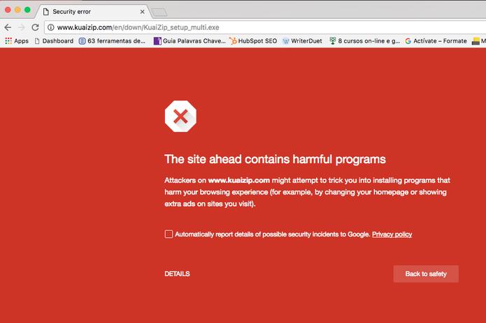 Aviso do Google sobre o KuaiZip diz: O site a seguir contém programas prejudiciais (Foto: Reprodução/Google)