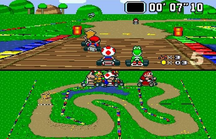 Super Mario Kart utilizou o efeito de Mode 7 para criar uma sensação de 3D (Foto: Reprodução/Crave Online)
