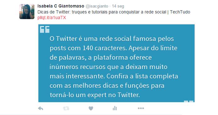 Plugin cria imagem com texto de mais de 140 caracteres para postar no Twitter (Foto: Reprodução/Isabela Giantomaso)