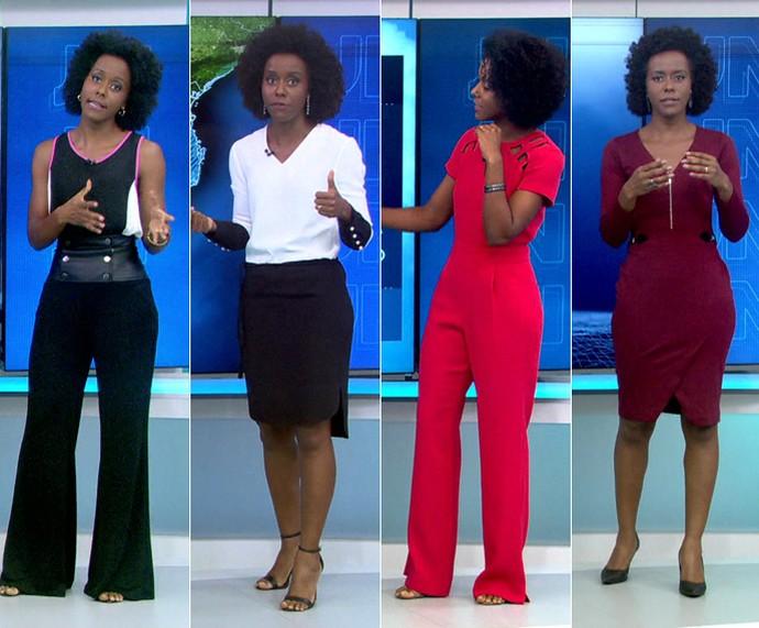 Looks da Maria Júlia Coutinho no JN (Foto: TV Globo)
