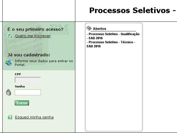 Página para inscrição nos cursos a distância do Senai-DF (Foto: Reprodução/Senai)
