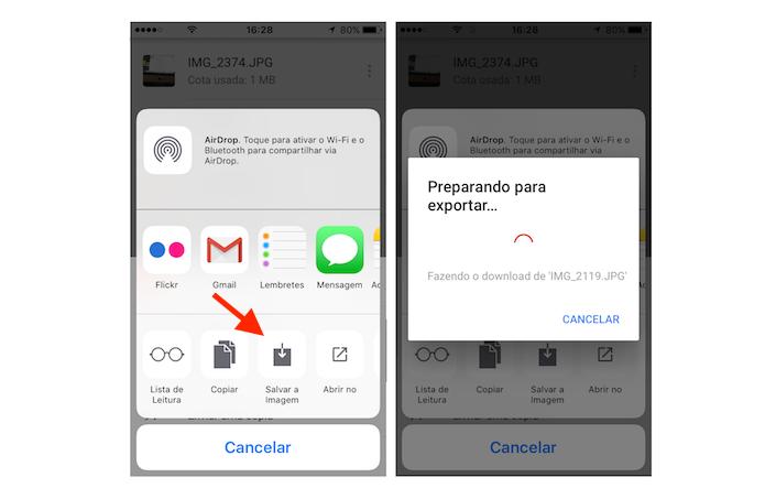 Como fazer o download de uma foto do Google Drive no iPhone