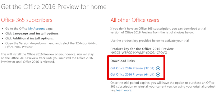 Links de download do Office 2016 Preview (Foto: Reprodução/Helito Bijora)