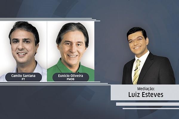Camilo Santana e Eunício Oliveira se enfrentam no debate do segundo turno (Foto: TV Verdes Mares)