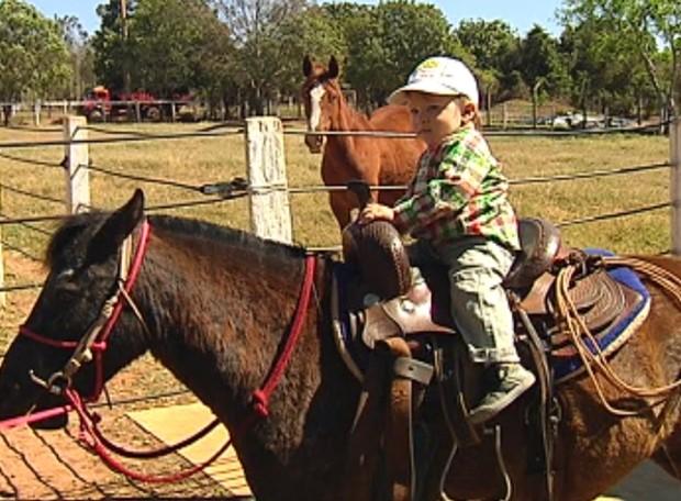 'Maizena' é atração para netos em fazenda de comerciante (Foto: Reprodução / TV Tem)
