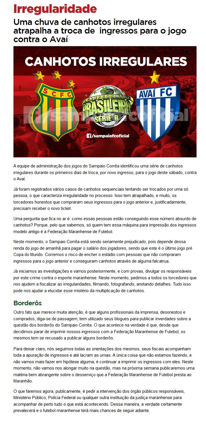 nota site - Sampaio Corrêa (Foto: Reprodução/Premiere FC)