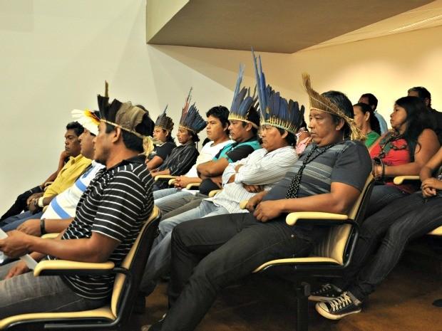 Um grupo de 50 índios partcipou da sessão na Assembleia Legislativa na manhã desta quarta-feira (21) (Foto: Tatiane Queiroz/ G1MS)