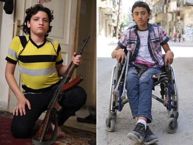 À esq., adolescente de 15 anos que virou soldado com a guerra; à dir., menino de 14 que foi atingido anda armado para se proteger (Foto: Gabriel Chaim/G1)