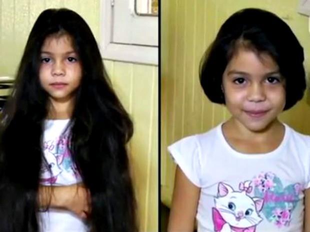 Menina doa mais de meio metro de cabelo para crianças com câncer  (Foto: Wendell Silva/Arquivo pessoal)