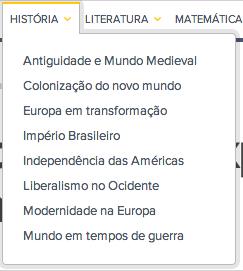 Menu de História do Educação Globo