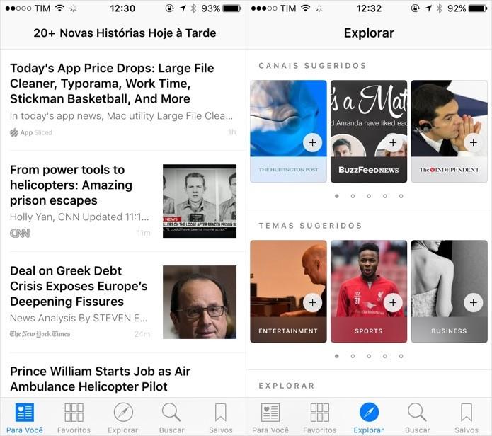 Novo app de notícias do iOS 9 (Foto: Reprodução/Helito Bijora)