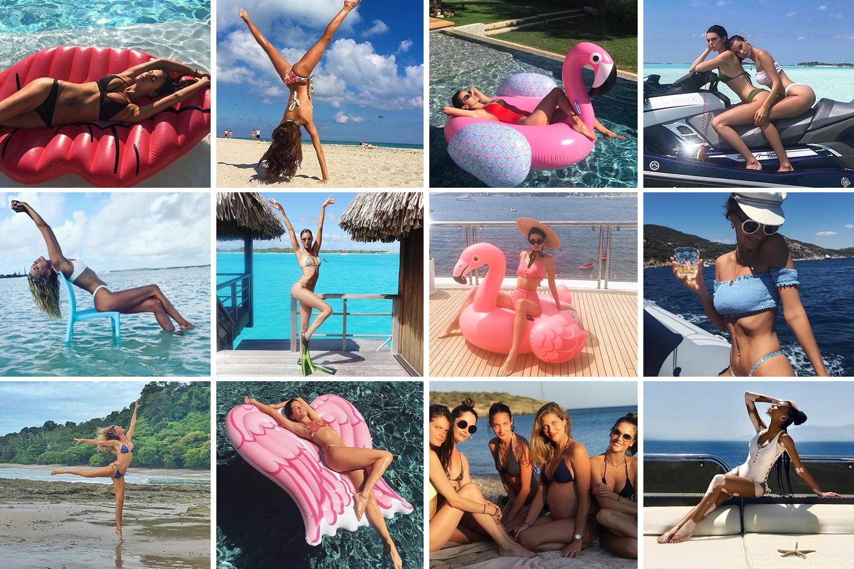 Como posar na praia segundo as modelos? (Foto: Reprodução/Instagram)