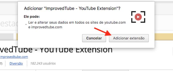 Opção para instalar a extensão ImprovedTube no Google Chrome (Foto: Reprodução/Marvin Costa)