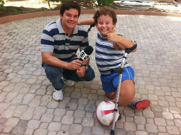 Cauet, garoto que mostra o amor ao esporte apesar das limitações (Foto: Divulgação / TV Sergipe)