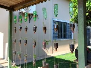 Garrafas pets são trnaformadas em vasos de plantas (Foto: Laiane Martins/G1)