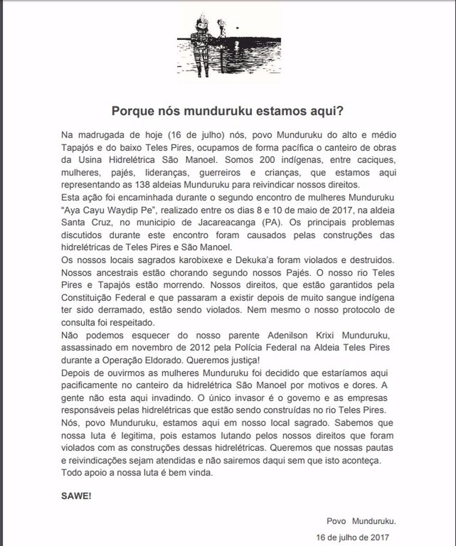 Carta aberta dos Munduruku explica o motivo da ocupação (Foto: Divulgação / CIMI)