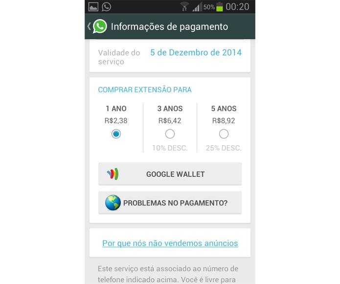 Tela de pagamento do WhatsApp (Foto: Reprodução/ Luciana Maline)