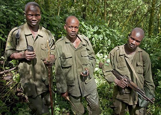 Três guarda-parques aparecem para nos avisar que estamos perto do grupo de gorilas. (Foto: © Haroldo Castro/Época)