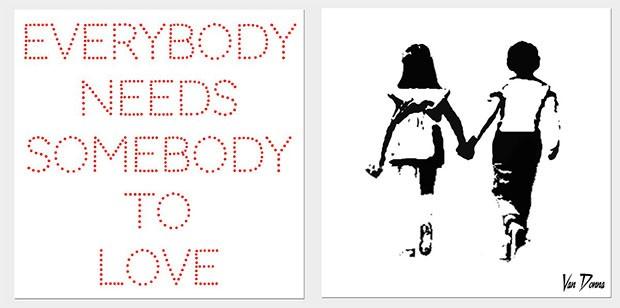 Obra limitada diptych Everybody Needs Somebody To Love, de Van Donna, avaliada em cerca de £3,000 (Foto: divulgação)