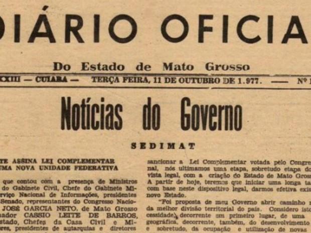 Reprodução do Diário Oficial que criou o estado de Mato Grosso do Sul (Foto: Divulgação/ Assecom)