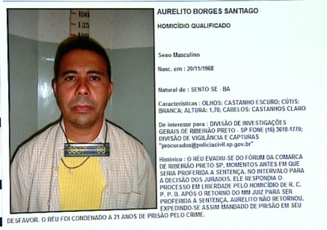 Aurelito Santiago aparece como um dos mais procurados em site da Secretaria Estadual de segurança Pública (Foto: Sérgio Oliveira/EPTV)