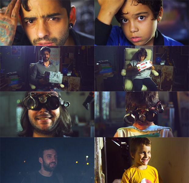 Montagem mostra os integrantes da banda Fresno e suas respectivas versões infantis no clipe da música 'Infinito' (Foto: Reprodução/Vídeo de Infinito)