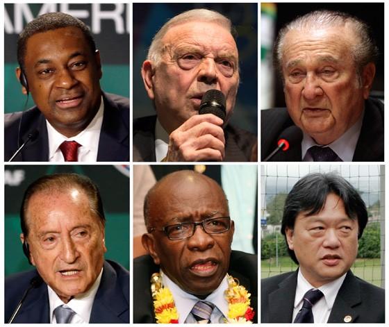 Cartolas da Fifa presos, em sentido horário: Jeffrey Webb, Jose Maria Marin, Nicolas Leoz, Eugenio Figueredo, Jack Warner, e Eduardo Li (Foto: AP)