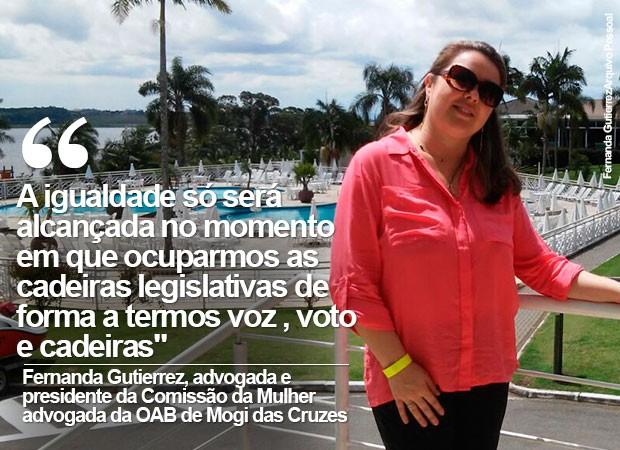 Fernanda Gutierrez, advogada presidente da Comissão da Mulher Advogada de Mogi das Cruzes (Foto: Fernanda Gutierrez/ Arquivo Pessoal)
