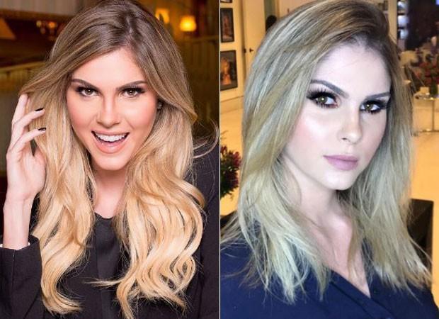 Bárbara Evans antes e depois do corte de cabelo (Foto: Reprodução/Instagram)