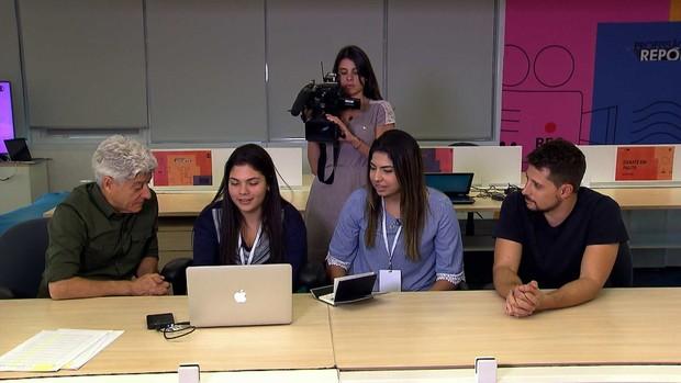 Caco Barcellos com os participantes do Globo Lab (Foto: Reprodução: TV Globo)