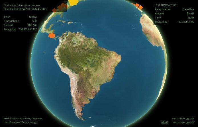 Mapa virtual mostra total de transaes de bitcoin em tempo real