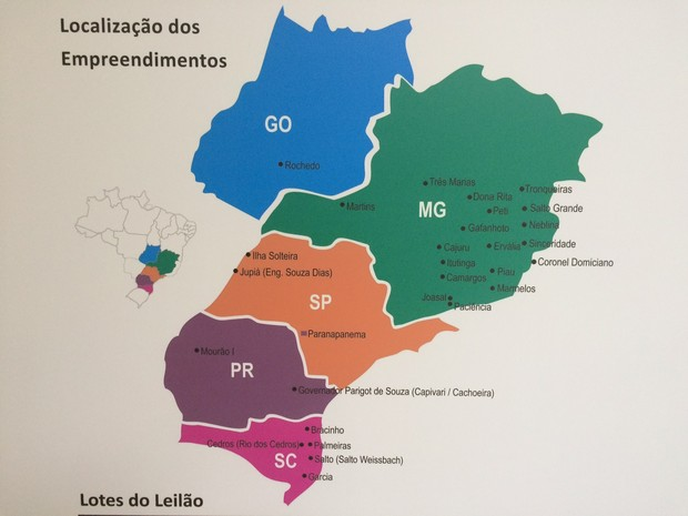 Mapa do leilão da Aneel (Foto: Reprodução/Aneel)