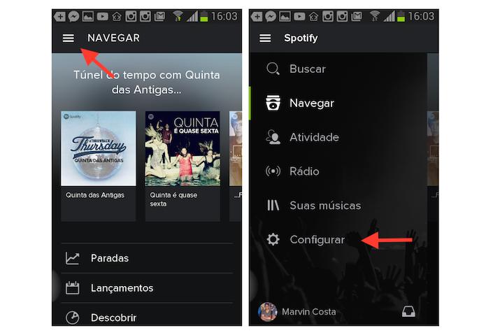Acessando as configurações do Spotify no Android (Foto: Reprodução/Marvin Costa)