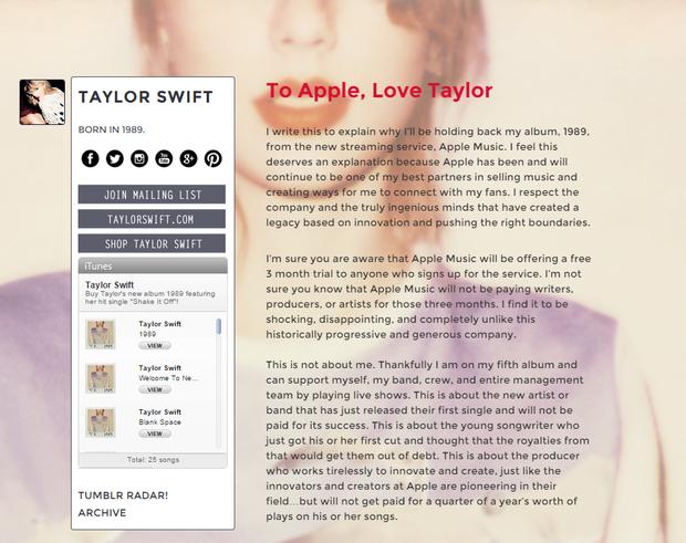 Carta aberta de Taylor Swfit para a Apple (Foto: Reprodução/Tumblr)