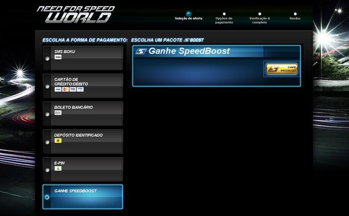 A opção Ganhe SpeedBoost oferece uma saída trabalhosa porém gratuita para conseguir a moeda (Foto: Reprodução)
