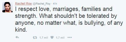 Post de Rachel Roy no twitter (Foto: Reprodução / Twitter)